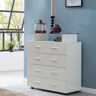 Wohnling Sideboard WL5.850 Weiß Hochglanz 76x84x35 cm Anrichte Schubladenkommode Glas Ablage Allzweckschrank - Bild 1