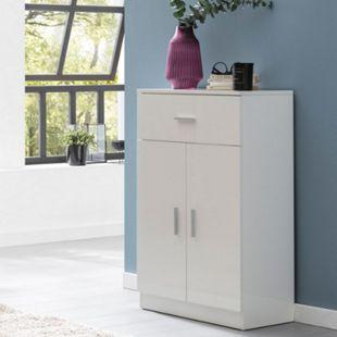 Wohnling Highboard WL5.861 Weiß Hochglanz 60x90x30 cm Holz Anrichte Sideboard Mehrzweckschrank Schrank Büro - Bild 1