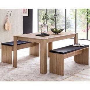 Wohnling Esszimmer Set WL5.927 Sonoma Eiche Esstisch mit 2 Bänken Essgruppe Tischgruppe  Esszimmergarnitur - Bild 1