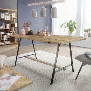 Wohnling Esstisch Mango Massivholz Esszimmertisch Küchentisch Loft Holztisch Tisch Massiv mit Metallgestell - Bild 1