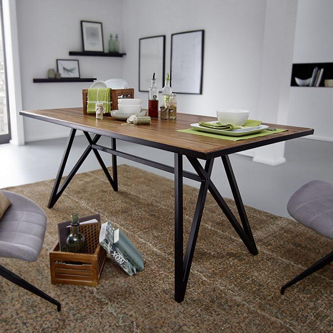 Wohnling Esstisch Sheesham Massivholz / Metall Esszimmertisch Küchentisch Massiv Holztisch mit Metallgestell - Bild 1