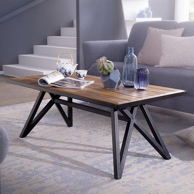 Wohnling Couchtisch 115 cm Sheesham Massivholz Sofatisch Wohnzimmertisch Kaffeetisch Massiv Tisch Wohnzimmer - Bild 1