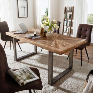 Wohnling Esstisch Mango Massivholz Esszimmertisch Natur mit Metallgestell Industrial Tisch Loft - Bild 1