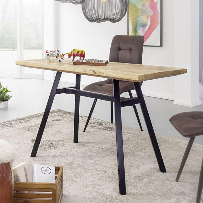 Wohnling Esstisch Mango Massivholz Esszimmertisch Küchentisch Massiv Metallgestell Holztisch Industrial Tisch - Bild 1