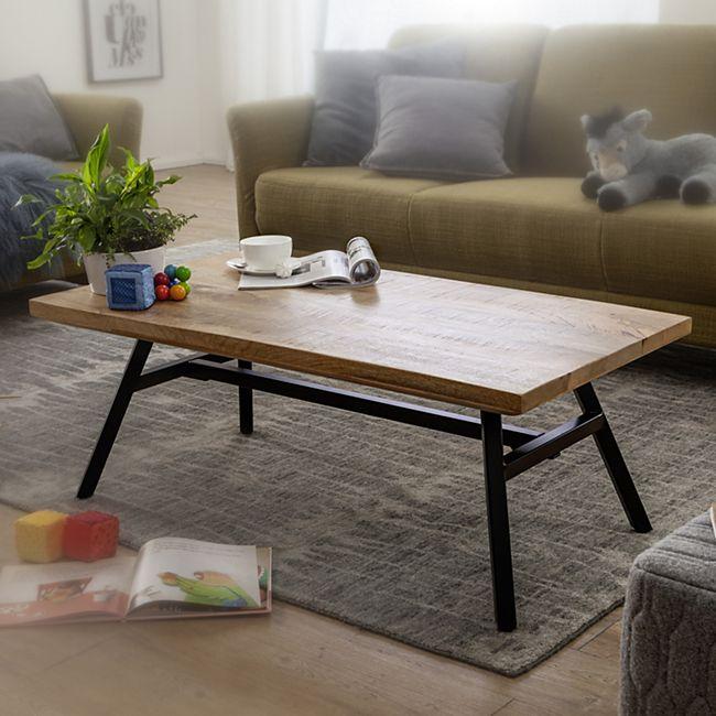 Wohnling Couchtisch Mango Massivholz 110x42,5x60 cm Wohnzimmertisch Tisch Echtholz/Edelstahl Sofatisch Massiv - Bild 1