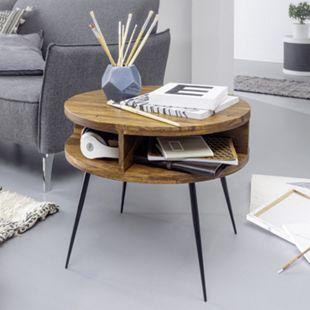 Wohnling Couchtisch Sheesham Massivholz 60 cm Tisch Wohnzimmer Beistelltisch Ablage Kleiner Wohnzimmertisch - Bild 1
