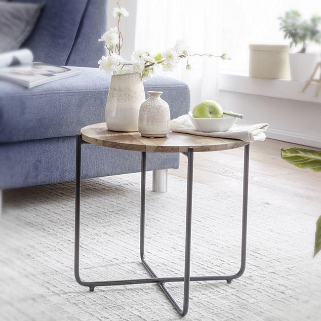 Wohnling Couchtisch Massivholz 42,5 cm Sofatisch Wohnzimmertisch Rund Kleiner Holz Tisch - Bild 1