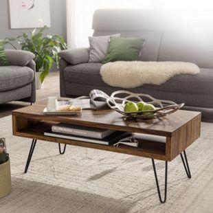 Wohnling Couchtisch 100x40x50 cm Sheesham Massivholz Sofatisch Wohnzimmertisch Kaffeetisch Tisch Massiv - Bild 1