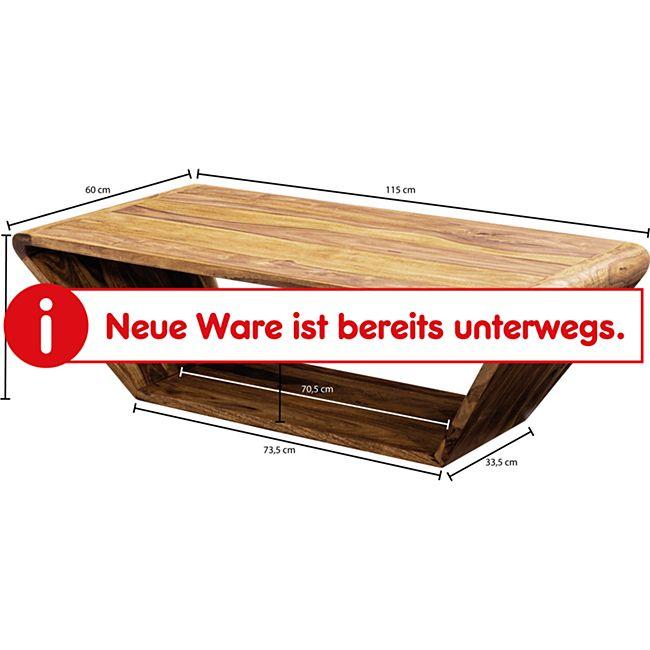 Design Couchtisch Sheesham Massivholz 115x36x60 cm Sofatisch | Wohnzimmertisch Trapezform | Stubentisch Braun Kaffeetisch | Tisch Wohnzimmer
