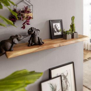 Wohnling Wandregal mit Baumkante Akazie Massivholz Unbehandelt Schweberegal Wandboard Massiv Regal Hängeregal - Bild 1