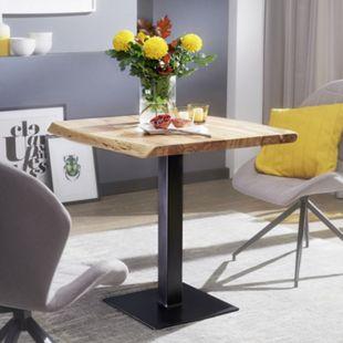 Wohnling Esstisch Baumkante 80 x 75 cm Akazie Esszimmertisch Massiv Küchentisch Quadratisch - Bild 1