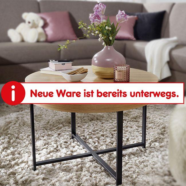 Wohnling Couchtisch Rund Ø69 cm mit Eichen Optik Tisch mit Stauraum Lounge-Wohnzimmertisch mit Metallbeine - Bild 1