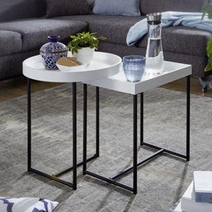 Wohnling Satztisch 2er Set Weiß Holz/Metall Beistelltische Tabletttisch 2-Teilig Tische für Wohnzimmer - Bild 1