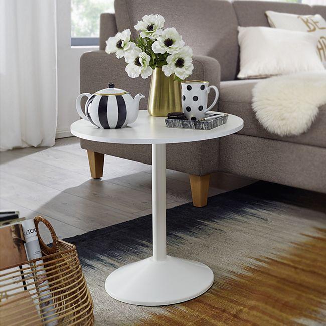 Wohnling Beistelltisch Weiß Holz Optik Rund Ø 48cm Kleiner Couchtisch Moderner Wohnzimmertisch Sofatisch - Bild 1