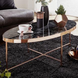 Wohnling Couchtisch Marmor Optik Schwarz - Oval Tisch 110x56 cm Kupfer Metallgestell Großer Wohnzimmertisch - Bild 1