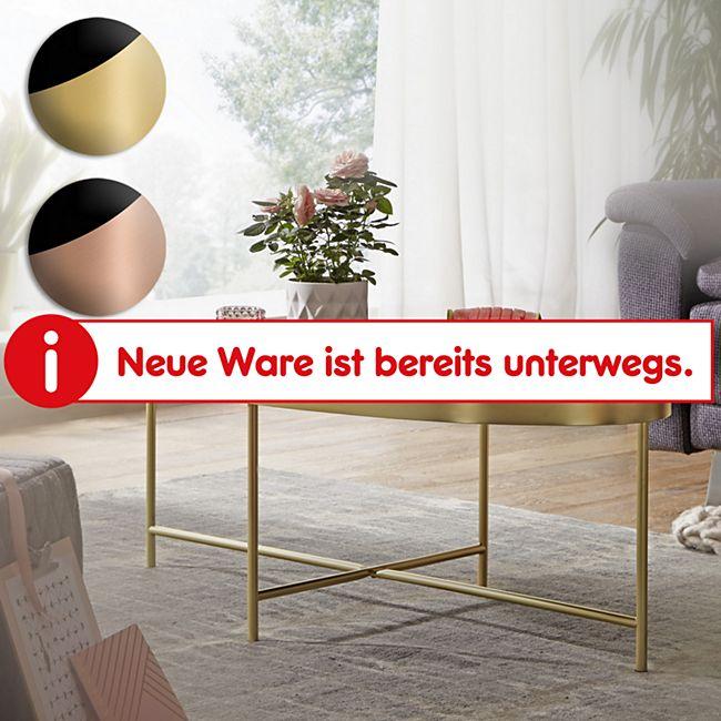 Wohnling Couchtisch Glas Schwarz - Oval 110x56 cm Metallgestell Großer Wohnzimmertisch Lounge Tisch Glastisch - Bild 1