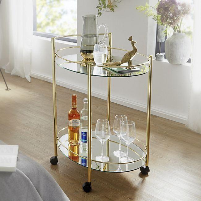 Wohnling Servierwagen Gold 67x79 cm Minibar Beistelltisch auf Rollen Speisewagen mit Glasplatte Weiß Teewagen - Bild 1