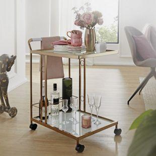 Wohnling Servierwagen Gold 67x80x45 cm Mobiler Beistelltisch Küchenwagen mit Glasplatte Teewagen Mini Bar - Bild 1