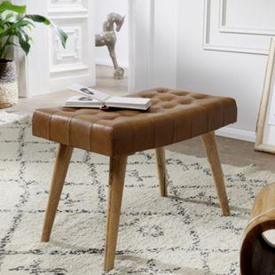 Wohnling Sitzhocker 67x47x39 cm Mango Massivholz / Echtleder Chesterfield-Design Lederhocker Beistellhocker