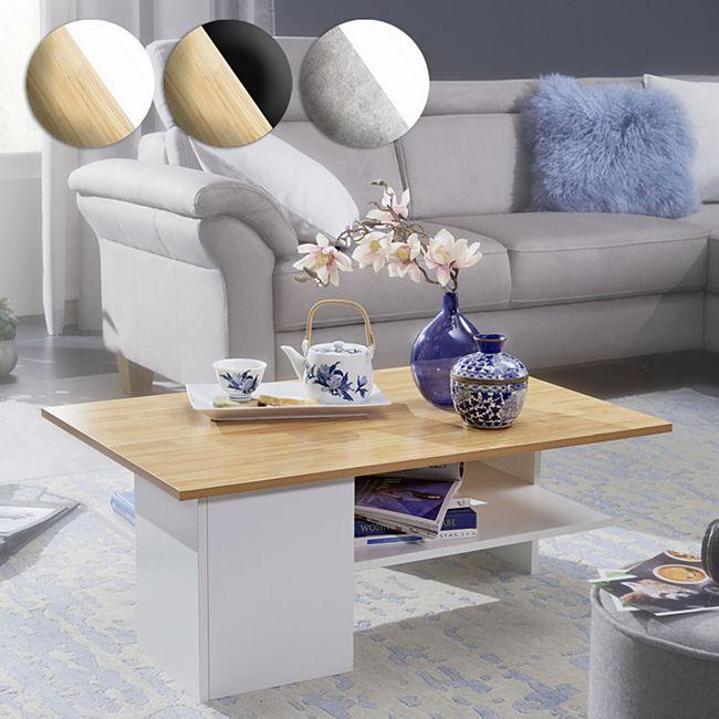 Wohnling Couchtisch 90x60 cm Wohnzimmertisch Sofatisch mit Ablage Design Tisch mit Stauraum - Bild 1