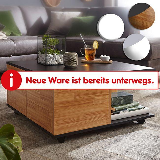 Wohnling Couchtisch 70x70 cm Wohnzimmertisch Sofatisch mit 2 Fächern Design Tisch mit Rollen - Bild 1