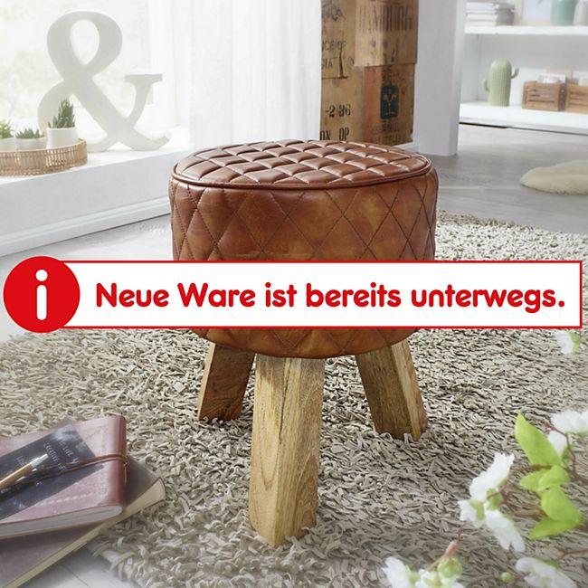Wohnling Sitzhocker Echtleder 35x46x35 cm Fußhocker Rund Lederhocker Modern Massivholz Hocker gepolstert - Bild 1