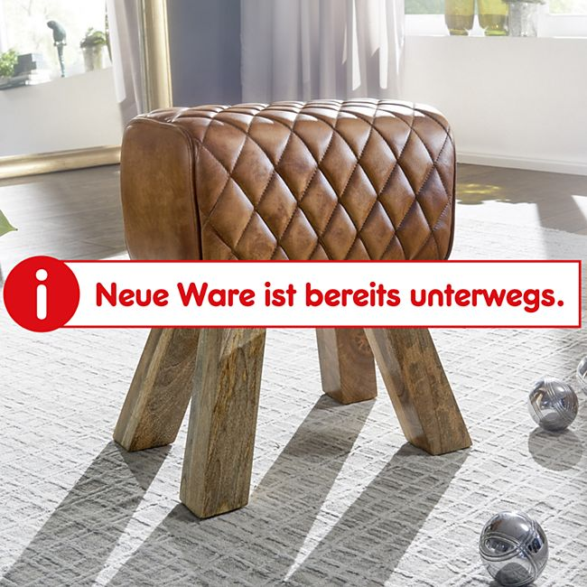 Wohnling Sitzhocker Echtleder 40x48x27 cm Fußhocker Lederhocker Massivholz Braun Hocker gepolstert - Bild 1