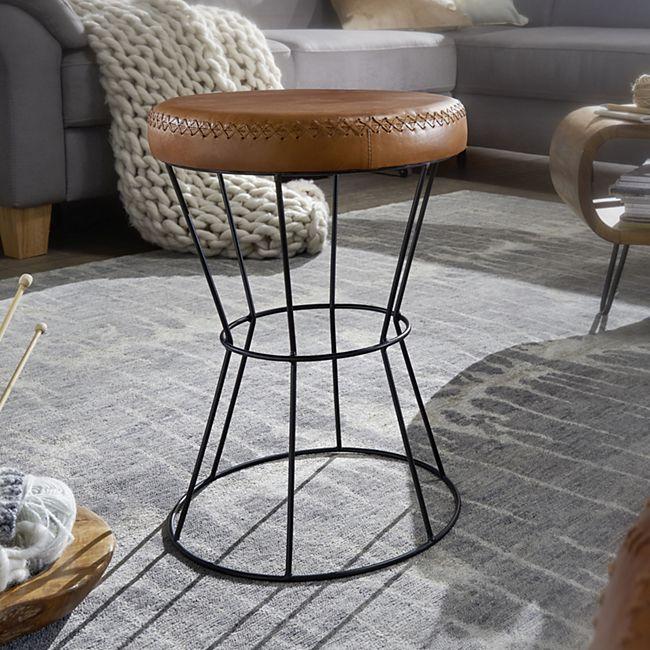 Wohnling Sitzhocker Braun 35x48 cm Lederhocker Modern Echtleder Hocker Rund Dekohocker gepolstert - Bild 1