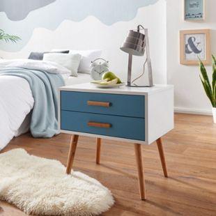 Wohnling Nachttisch 50x40x50 cm Weiß / Blau 2 Schubladen skandinavisches Design Nachtkonsole Nachtschrank - Bild 1