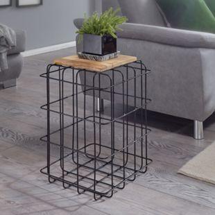 Wohnling Beistelltisch 35x52x35 cm Mango Massivholz / Metall Industrial Style Echtholz Wohnzimmer Holztisch - Bild 1