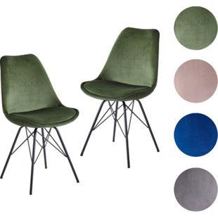 Wohnling Esszimmerstuhl 2er Set Küchenstuhl mit Metallbeinen | Schalenstuhl Skandinavisches Design | Polsterstuhl mit Stoffbezug | Stuhl Gepolstert - Bild 1