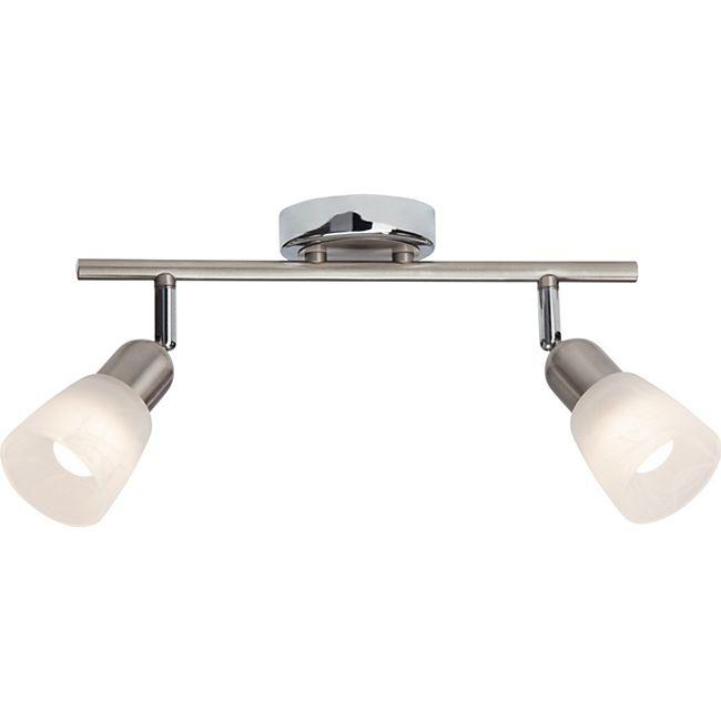 Bethany LED Spotrohr 2flg eisen/chrom/weiß-alabaster - Bild 1