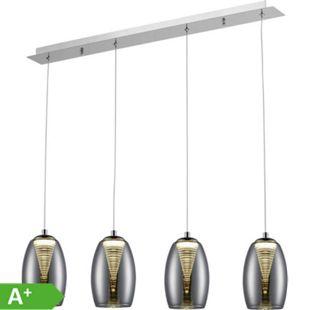 Metropolis LED Pendelleuchte 4flg chrom/rauchglas easyDim - Bild 1