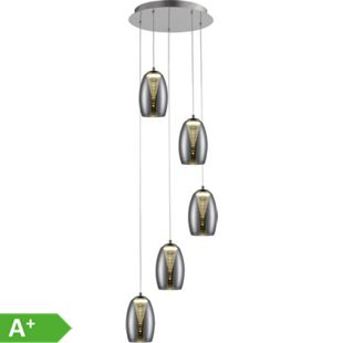 Metropolis LED Pendelleuchte 5flg chrom/rauchglas easyDim - Bild 1