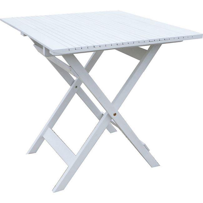 Grasekamp Balkontisch Toskana 70 x 70 cm Weiß  Klapptisch Beistelltisch Gartentisch - Bild 1