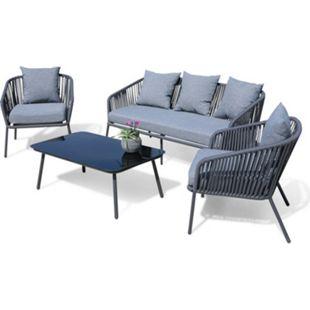 Grasekamp Lounge Sitzgruppe 4 teilig mit dicken  Kissen Grau Coffee Set Arezzo Aluminium  Loungeset Garten Sitzgruppe Loungemöbel - Bild 1