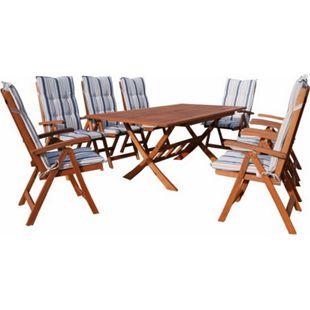 Grasekamp Gartenmöbel 17tlg mit 200cm Klapptisch  Terrassenmöbel Santos Marine - Bild 1