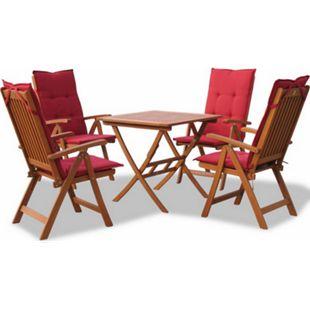 Grasekamp Gartenmöbelgruppe Santos Rubin 9tlg mit  Tisch 80x80cm Balkonmöbel Essgruppe - Bild 1