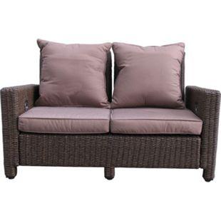 Grasekamp Rattan Lounge Sofa 140cm Couch Futon  Couchgarnitur Braun - Bild 1