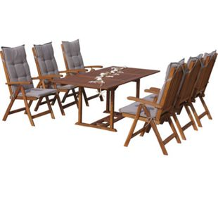 Grasekamp Garten Möbelgruppe Cuba 13tlg Sand mit  ausziehbarem Tisch Essgruppe - Bild 1