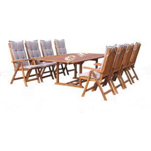 Grasekamp Garten Möbelgruppe Cuba 17tlg Sand mit  ausziehbarem Tisch - Bild 1