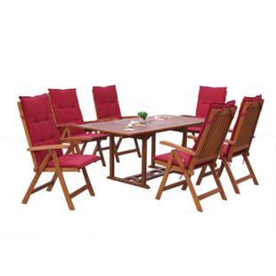 Grasekamp Garten Möbelgruppe Cuba 13tlg Rubinrot  mit ausziehbaren Gartentisch Akazienholz - Bild 1