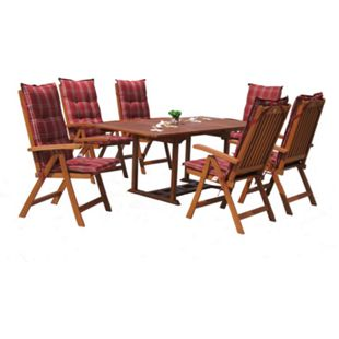 Grasekamp Garten Möbelgruppe Cuba 13tlg Rubin  gestreift mit ausziehbaren Tisch - Bild 1