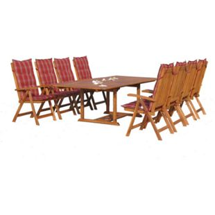 Grasekamp Garten Möbelgruppe Cuba 17tlg Rubin  gestreift mit ausziehbaren Tisch - Bild 1