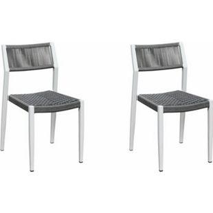 Grasekamp Stapelstuhl-Set Sol 2 teilig aus  Aluminium - Weiß/Grau - Bild 1