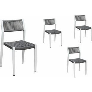 Grasekamp Stapelstuhl-Set Sol 4 teilig aus  Aluminium - Weiß/Grau - Bild 1