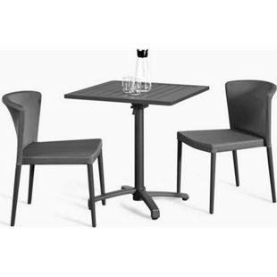 Grasekamp Balkonset Sol 3 teilig - 2x Stapelstuhl  und Klapptisch aus Aluminium/Textilene - Bild 1
