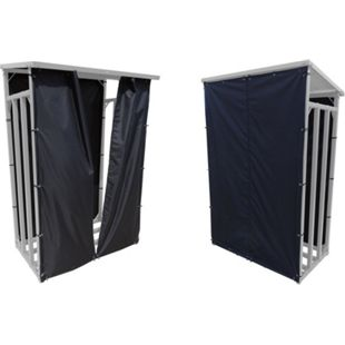 Grasekamp Wetterschutz Set Front und Rückwand zu  Kaminholzunterstand 130x70x203cm  PVC Schwarz - Bild 1