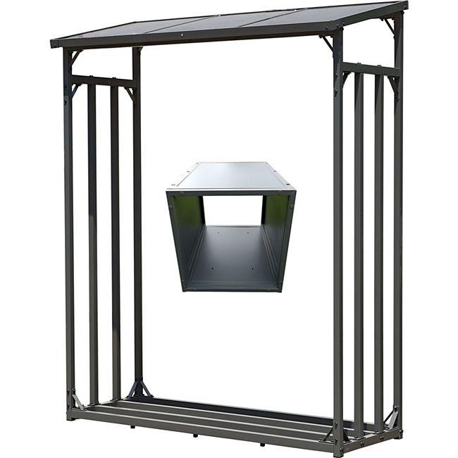 Grasekamp Kaminholz Lager 130 x 60 x 203 cm und  Box für Anmachholz mit Doppelstegplatten  Regal Stapelhilfe Aussen - Bild 1