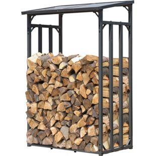 Grasekamp Kaminholzunterstand 130x60x203cm  Kaminholz Regal Kamin Holzofen Aussen  Doppelstegplatten Stapelhilfe - Bild 1